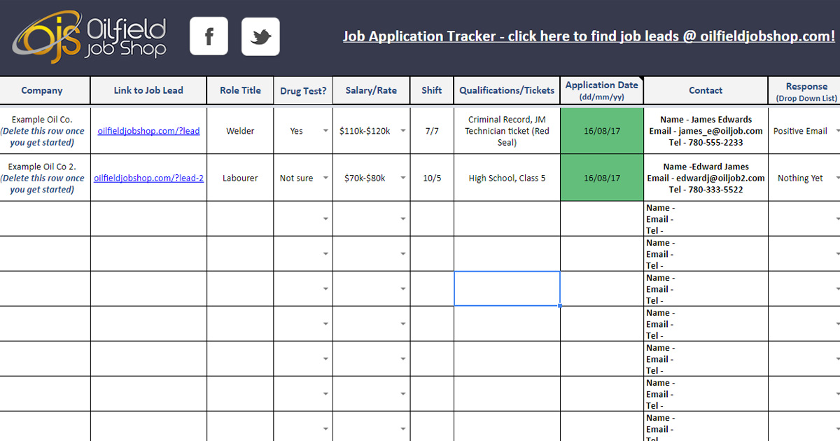 Energy Job Shop Free Application Tracker